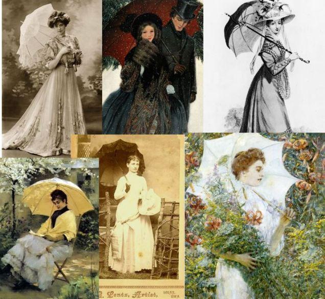 6 victorain ladys with parasol