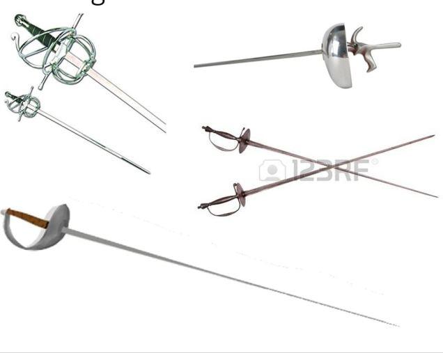 3 fencing swords